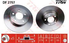 TRW Juego de 2 discos freno Trasero 278mm MERCEDES-BENZ CLASE C E CLK DF2757