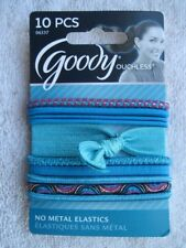 10 Goody Ouchless Turquoise + Designer Series No Metal Elastic Hair Bands Ribbon