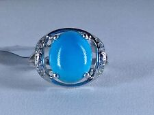 Size 6 Arizona Sleeping Beauty Turquoise & White Topaz Sterling Silver Ring