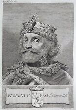 Gravure Antique print FLORENT V Comte de Hollande Flipart Count of Holland
