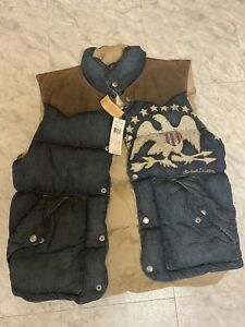 Polo Ralph Lauren Denim Leather Men's Down Vest Jacket Medium M