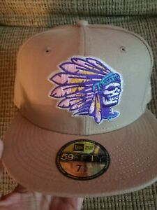HAT CLUB  Exclusive NEW ERA Skull Chief Sandstorm Hat Size 7  3/8 With pin