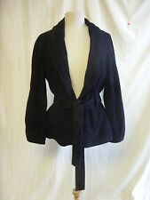 Ladies Coat - Jaeger, size L, navy, 100% suede, belted, chic, classy - 063 6178