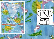 NEW Scrubs ~ Mock Wrap Print Scrub Top ~  S  ~  Turtle  &  Friends