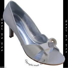IVORY SATIN WEDDING SHOES BRIDAL PEEP TOE peeptoes diamante size ladies