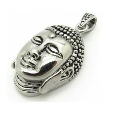 Beautiful Heavy Polished Tibetan Silver Chinese Buddha Head Buddhist Pendant