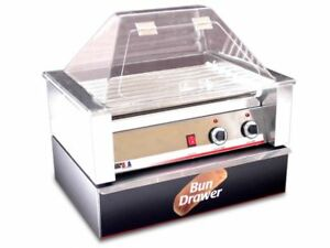 HOT DOG ROLLER GRILL 20 HOTDOGS w/ SNEEZE GUARD BUN BOX