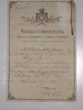 WW1 PNF BREVETTO DIPLOMA MEDAGLIA  GUERRA ITALO TURCA ROMA 1913  att6
