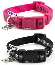 Ancol Indulgence Pink & Black Skull Adjustable Nylon Dog Puppy Collar Lead