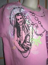 New Girls Disney Pink Hannah Montana Shortsleeve Cotton T Shirt Tween Fit S 7/8