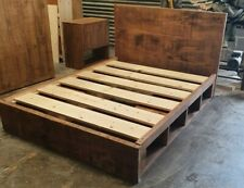 SOLID WOOD RUSTIC CHUNKY STORAGE BED - BUILT IN CUBBY HOLE KINGSIZE WOODEN BED