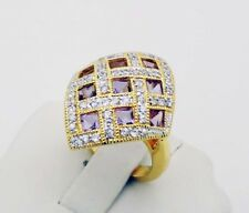 STUNNING!!! QVC AIL Amethyst & CZ Ring in Sterling Silver Size 7