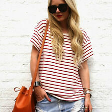 Women Striped T-Shirt Casual Loose Short Sleeve Tops Fashion Summer Blouse Shirt