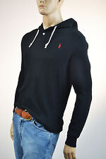 Ralph Lauren Black Thermal Pullover Buttoned Front Hoodie/Red Pony -Small- NWT