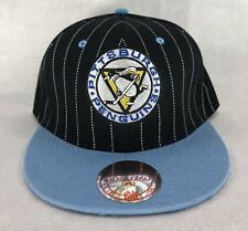 Pittsburgh Penguins Mitchell & Ness Snapback Hat Wool Black Blue Pinstripes NEW