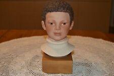 "Vintage CYBIS ""Jason Child"" head bust ~ signed porcelain, wood base"