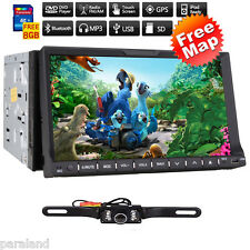 "GPS Navigation 7"" Double 2DIN Car Stereo DVD Player Bluetooth iPod MP3 FM+Camera"
