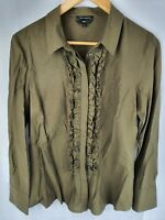 Cue Olive Cotton/Polyester Ruffled Long Sleeved Shirt Womans Size 10