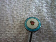 Superb Petite Antique Guilloche Enamel Hallmarked Silver Stick Pin