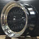 MST MT-13 15x8 +20 4x100/114.3 BLACK MESH MACHINE LIP GOLD RIVETS TUNER 4 WHEELS