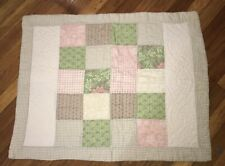 Reversible Patchwork Quilted Cotton Pillow Sham OR Tan Scroll