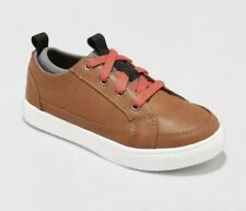 NEW Cat & Jack Brown Shoes Boys (Size 13) Faux Leather Lace Up Arlo Sneakers NWT