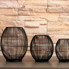 CAGE LANTERN BLACK METAL IRON CANDLE HOLDER - 3 SIZES MODERN AVAILABLE E1Q2
