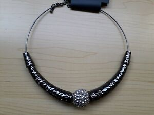 BNWT Accessories Pewter/Silver Tone Wired Crescent Design Statement Necklace