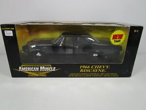 ERTL 1/18 AMERICAN MUSCLE BLACK 1966 CHEVY BISCAYNE COUPE NEW *READ* VHTF