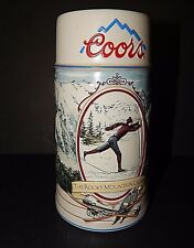 Coors The Rocky Mountain Legend Series 1991 Stoneware Beer Stein Mug -Skiing