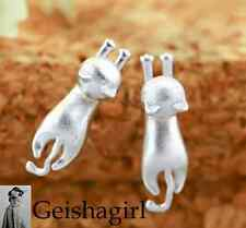 2Ladies 925 Sterling Silver Brushed Cat Kitten Cute Ear Stud Earrings  UK Seller