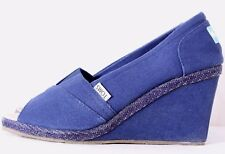 Toms Navy Blue Canvas Peep Toe Slip-On Casual High Heeled Wedge Women's US 10