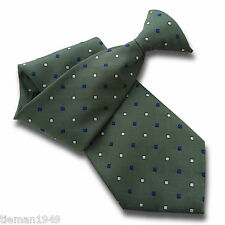 Green Clip On Tie Mens Clipper Royal Blue + White Diamonds + Matching Hanky