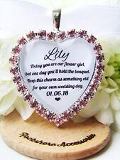 Flower Girl Bouquet Charm Pink Diamanté Wedding Gift Accessories Heart Old