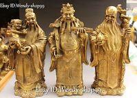 China Bronze Dragon Child Ruyi Peach 3 Longevity God Fu Lu Shou Life Statue Set