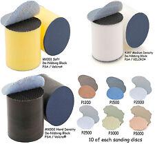 Flexipads 3 x 30mm Sanding Blocks Denibbing Smart Repairs + 60 Discs 10 of each