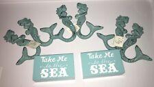 Three Sets Mermaid Hooks and Take Me To the Sea Wood Blocks Nwt
