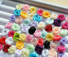 100Pcs DIY Satin Fabric Ribbon Rose Flower Applique Sewing Craft Wedding Decor