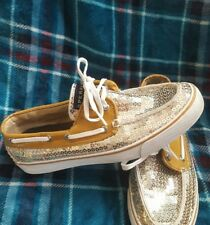 Sperry Top Sider gold sparkle boat shoes womens size 8M