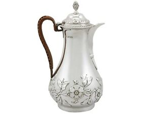 Antique Victorian Sterling Silver Hot Water/Coffee Jug 1883