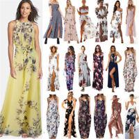 Women Floral Boho Maxi Split Dress Cocktail Party Summer Beach Holiday Sundress