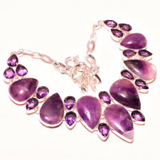 "African Amethyst Cut Cabs Gemstone Fashion Jewelry Necklace 18"" RD-2164"