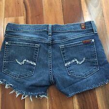 7 for all mankind Denim Cut Off Shorts, Rhinestone Pocket, size 27