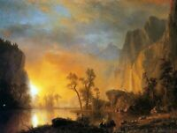 Albert Bierstadt Sunset in the Rockies Landscape Wall Art Print on Canvas Small