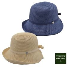 Ladies Summer Cloche Straw Hat Excellent Quality Blue/Natural Adjustable Size