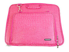 "Case Crown Alligator Texture Pink Laptop Messenger Bag Up To 17"" Inches"