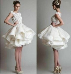 New White Ivory Puffy Skirt Lace Short Wedding Dress Formal Ball Gown Ruffle--f