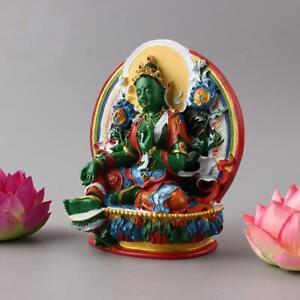 Semicircle Hand-painted Feng Shui Tibetan Buddhism Statue Green Tara Buddha