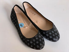 NEW! DONNA KARAN DKNY BLACK SIGNATURE LOGO BALLET FLATS SANDALS SHOES 6 36 SALE