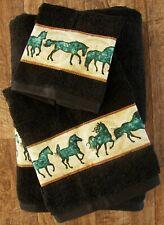Southwest/Western Rustic 3 Pc Towel Set, Black With Turquoise/Teal Horseborder